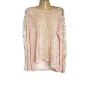 a'reve Sweater Crocheted & Lace Peach Size Large